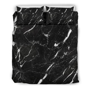 Black White Scratch Marble Print Duvet Cover Bedding Set GearFrost