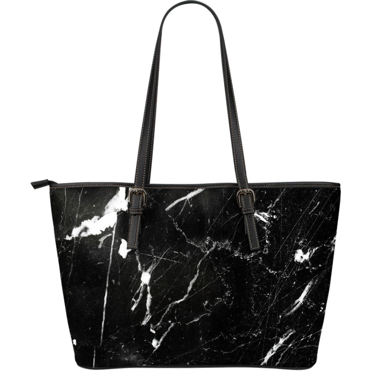 Black White Scratch Marble Print Leather Tote Bag GearFrost