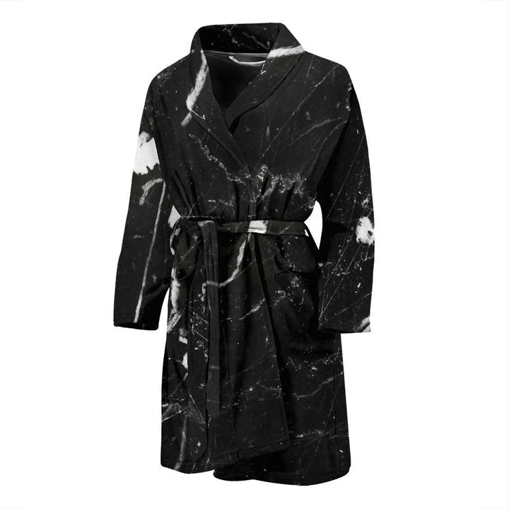 Black White Scratch Marble Print Men's Bathrobe GearFrost