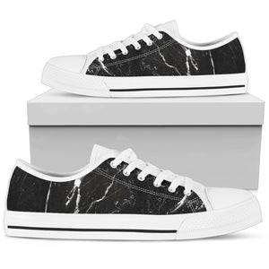 Black White Scratch Marble Print Women's Low Top Shoes GearFrost