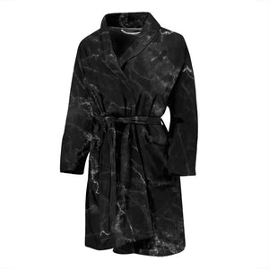 Black White Smoke Marble Print Men's Bathrobe GearFrost