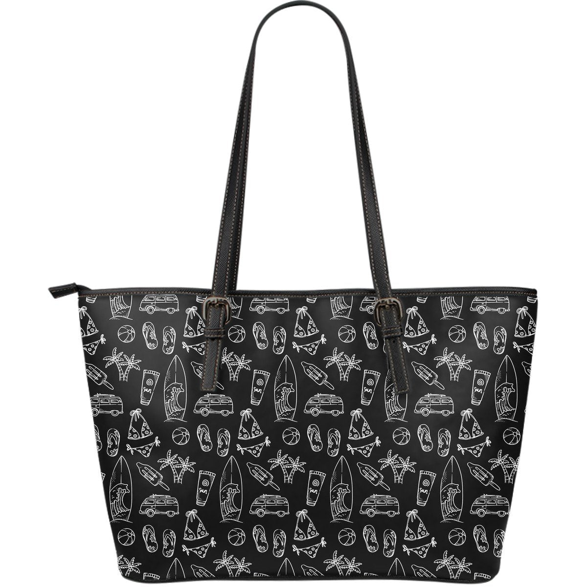 Black White Surfing Pattern Print Leather Tote Bag GearFrost
