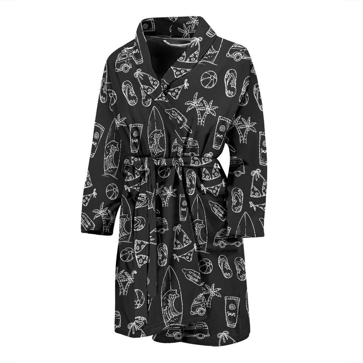 Black White Surfing Pattern Print Men's Bathrobe GearFrost