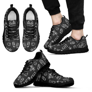 Black White Surfing Pattern Print Men's Sneakers GearFrost