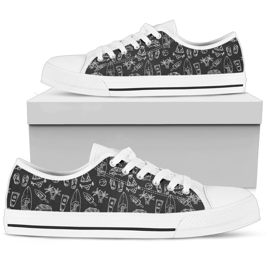 Black White Surfing Pattern Print Women's Low Top Shoes GearFrost