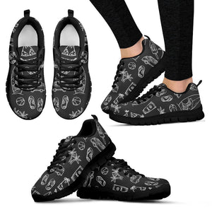 Black White Surfing Pattern Print Women's Sneakers GearFrost