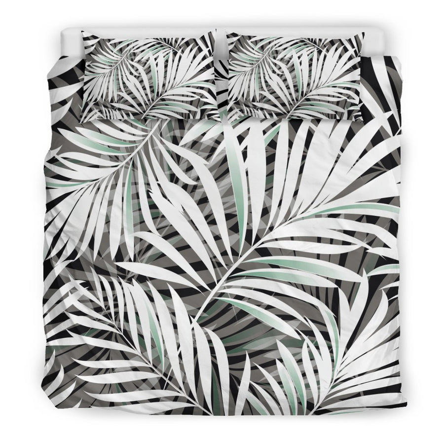 Black White Tropical Leaf Pattern Print Duvet Cover Bedding Set GearFrost