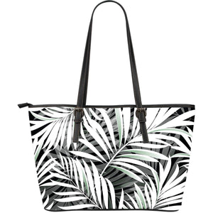 Black White Tropical Leaf Pattern Print Leather Tote Bag GearFrost