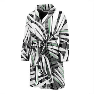 Black White Tropical Leaf Pattern Print Men's Bathrobe GearFrost
