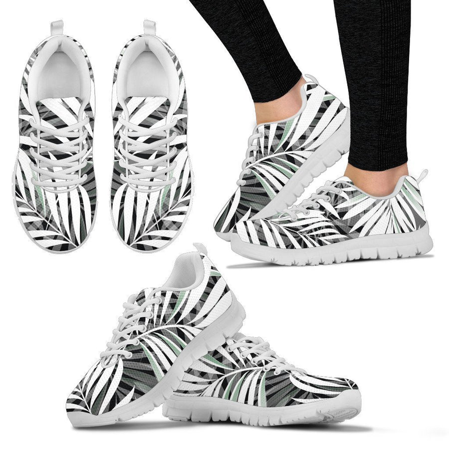 Black White Tropical Leaf Pattern Print Women's Sneakers GearFrost