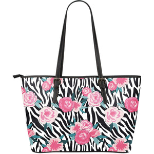 Black White Zebra Floral Pattern Print Leather Tote Bag GearFrost