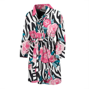 Black White Zebra Floral Pattern Print Men's Bathrobe GearFrost