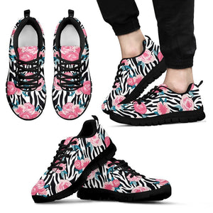 Black White Zebra Floral Pattern Print Men's Sneakers GearFrost