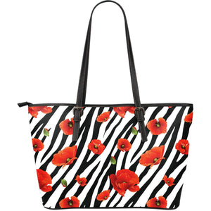 Black White Zebra Flower Pattern Print Leather Tote Bag GearFrost