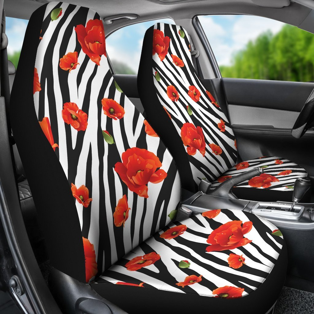 Awesome Black White Zebra Flower Pattern Print Universal Fit Car Seat Covers Machost Co Dining Chair Design Ideas Machostcouk