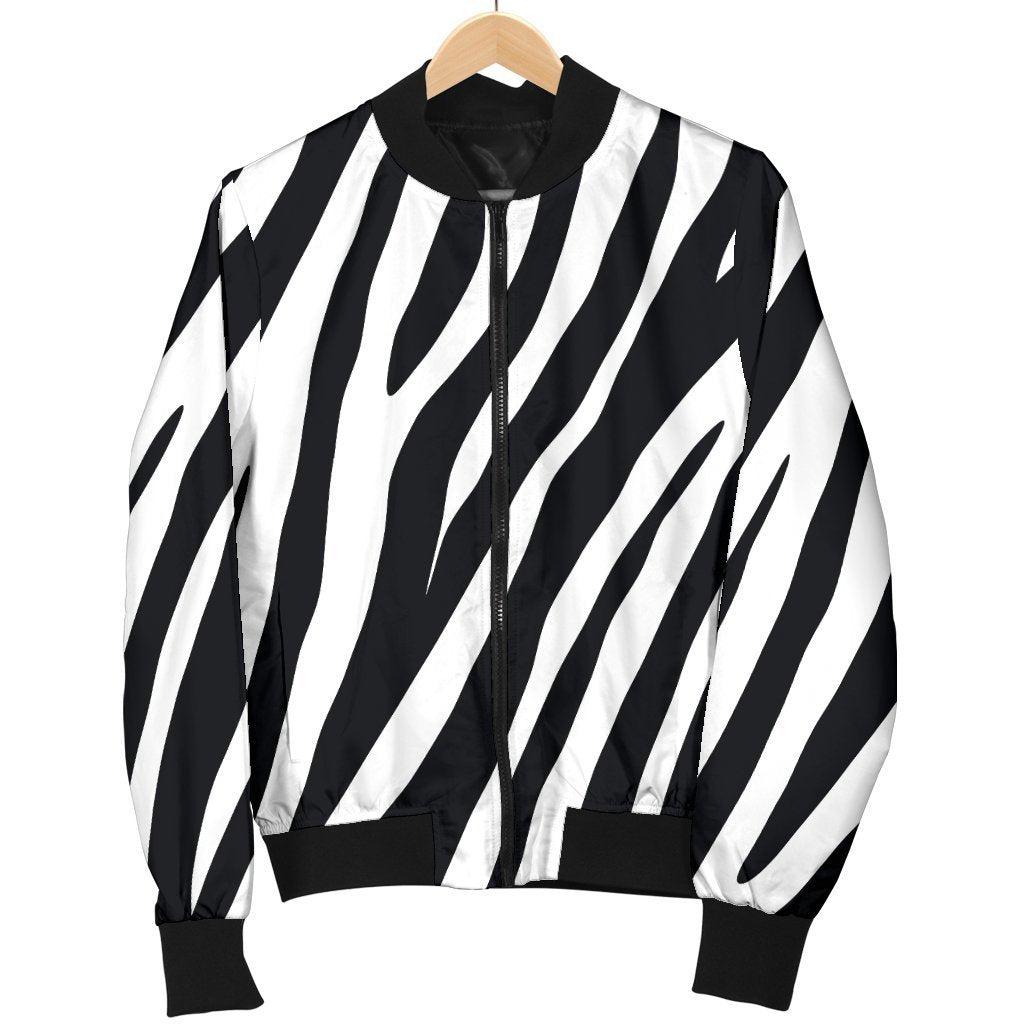 Black White Zebra Pattern Print Men's Bomber Jacket GearFrost