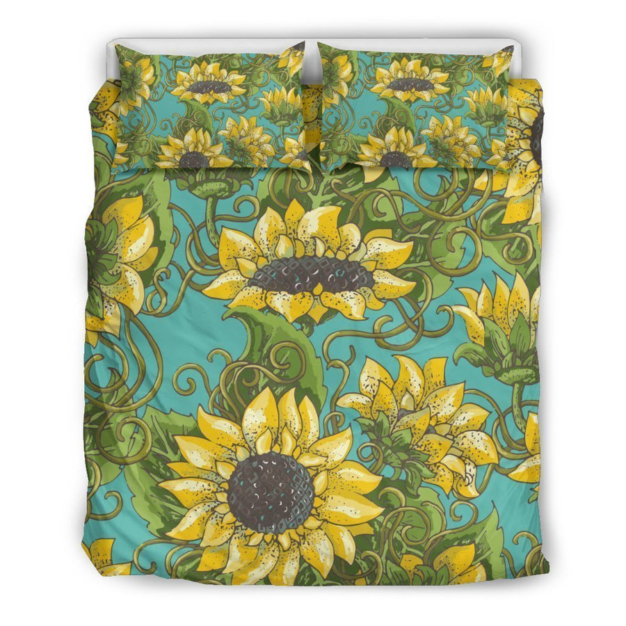Blooming Sunflower Pattern Print Duvet Cover Bedding Set GearFrost