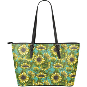 Blooming Sunflower Pattern Print Leather Tote Bag GearFrost