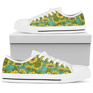 Blooming Sunflower Pattern Print Women's Low Top Shoes GearFrost
