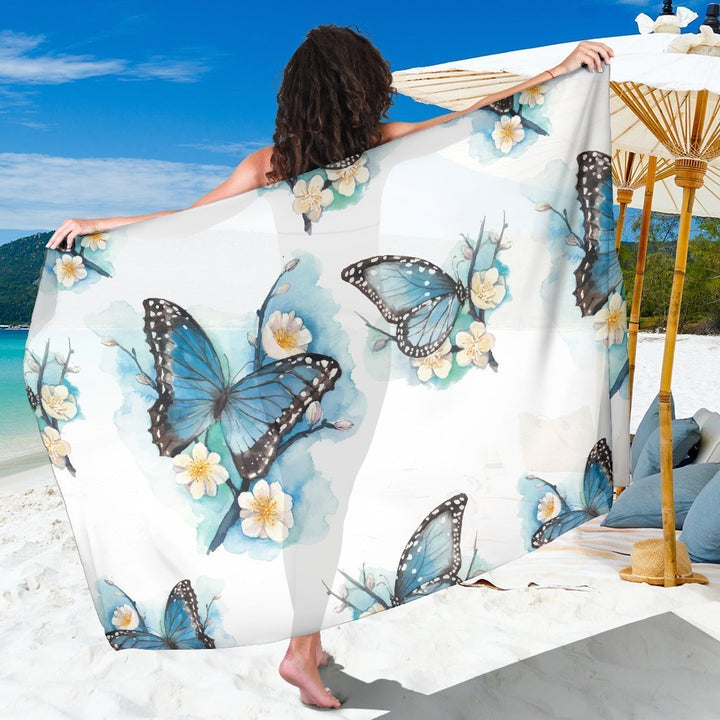 Blossom Blue Butterfly Pattern Print Beach Sarong Wrap GearFrost