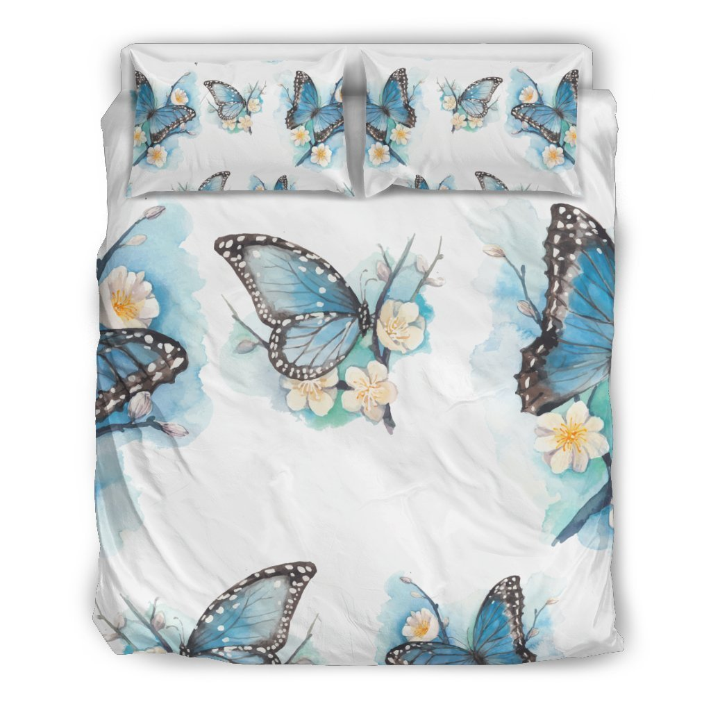 Blossom Blue Butterfly Pattern Print Duvet Cover Bedding Set GearFrost
