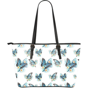 Blossom Blue Butterfly Pattern Print Leather Tote Bag GearFrost