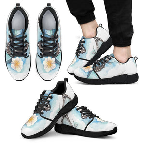 Blossom Blue Butterfly Pattern Print Men's Athletic Shoes GearFrost