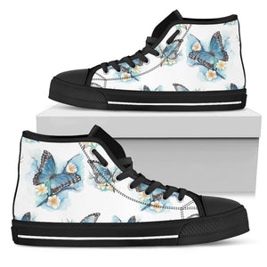 Blossom Blue Butterfly Pattern Print Men's High Top Shoes GearFrost