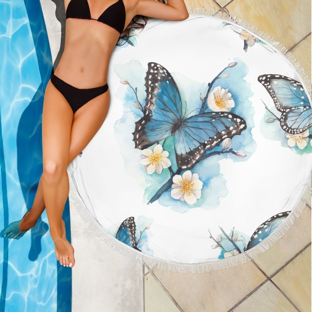 5c927b4cc Blossom Blue Butterfly Pattern Print Round Beach Blanket – GearFrost