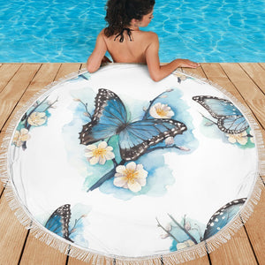 Blossom Blue Butterfly Pattern Print Round Beach Blanket GearFrost