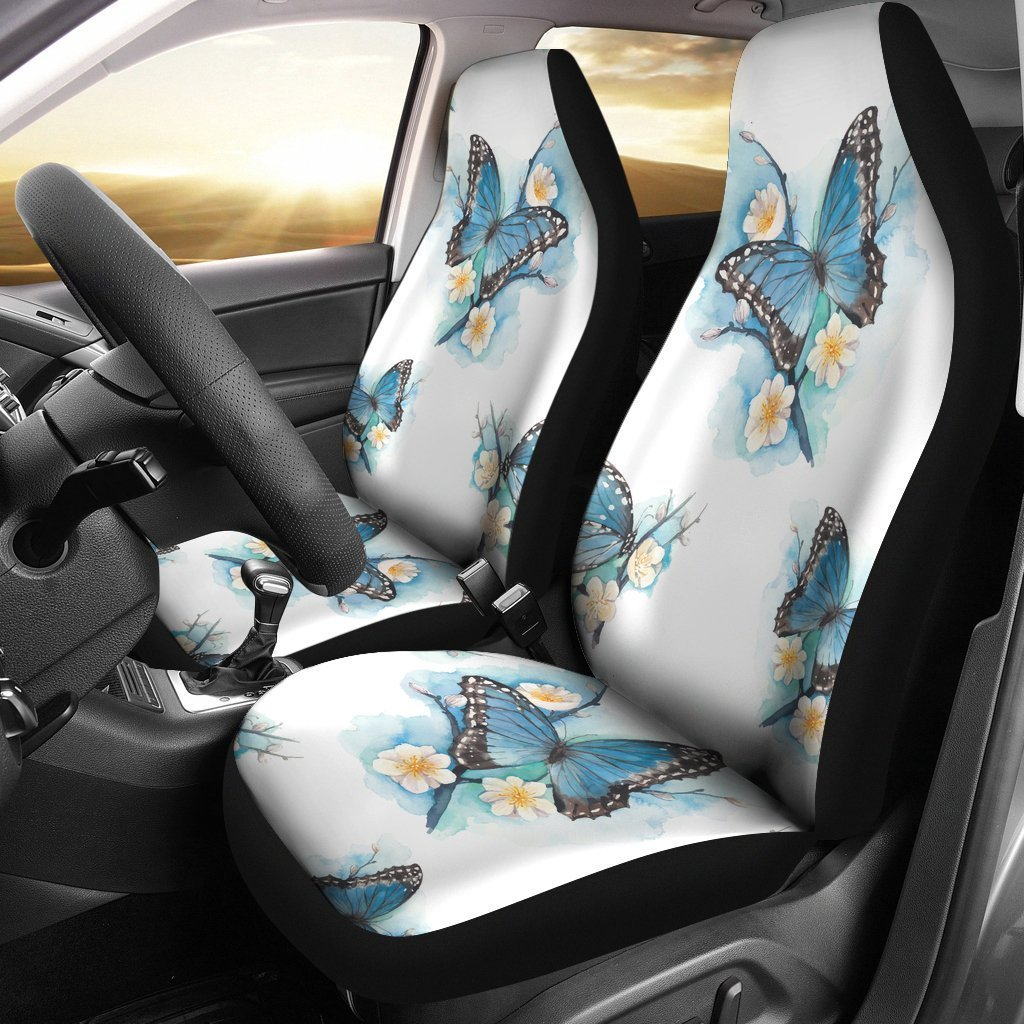 Blossom Blue Butterfly Pattern Print Universal Fit Car Seat Covers GearFrost