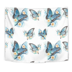 Blossom Blue Butterfly Pattern Print Wall Tapestry GearFrost