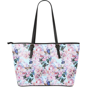 Blossom Floral Flower Pattern Print Leather Tote Bag GearFrost
