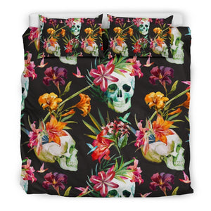 Blossom Flowers Skull Pattern Print Duvet Cover Bedding Set GearFrost