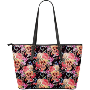 Blossom Peony Skull Pattern Print Leather Tote Bag GearFrost