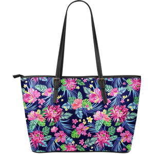 Blossom Tropical Flower Pattern Print Leather Tote Bag GearFrost
