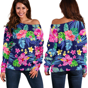 Blossom Tropical Flower Pattern Print Off Shoulder Sweatshirt GearFrost