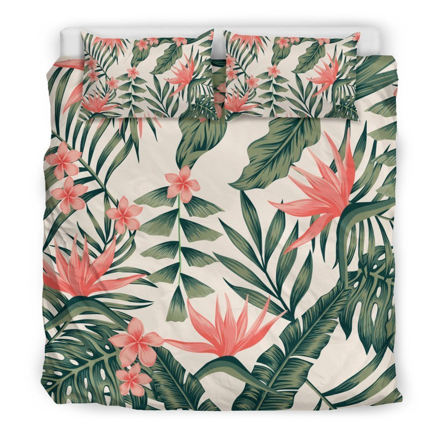 Blossom Tropical Leaves Pattern Print Duvet Cover Bedding Set GearFrost
