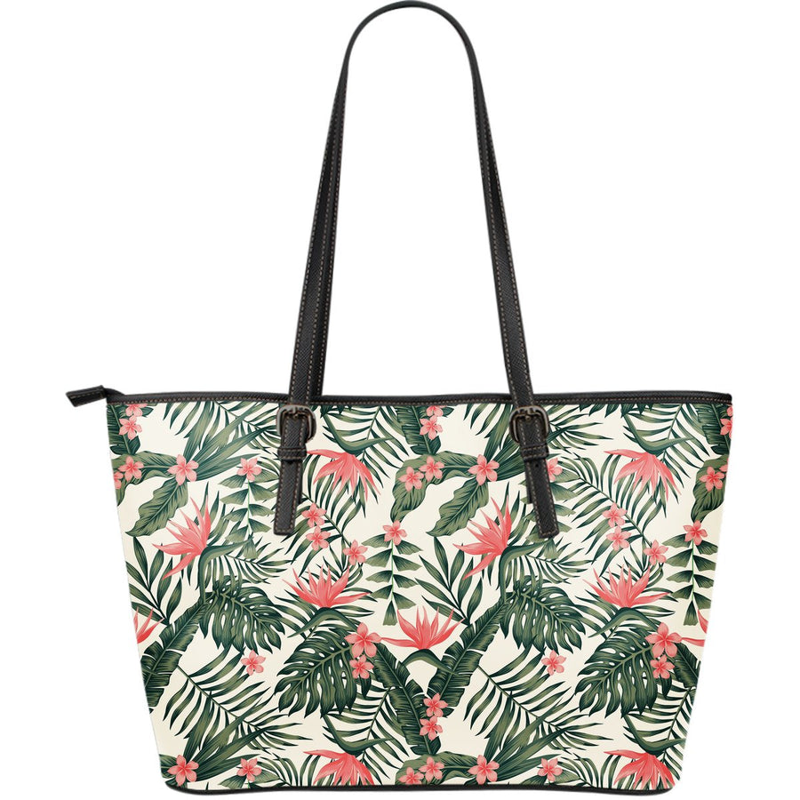 Blossom Tropical Leaves Pattern Print Leather Tote Bag GearFrost