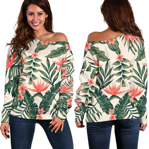 Blossom Tropical Leaves Pattern Print Off Shoulder Sweatshirt GearFrost