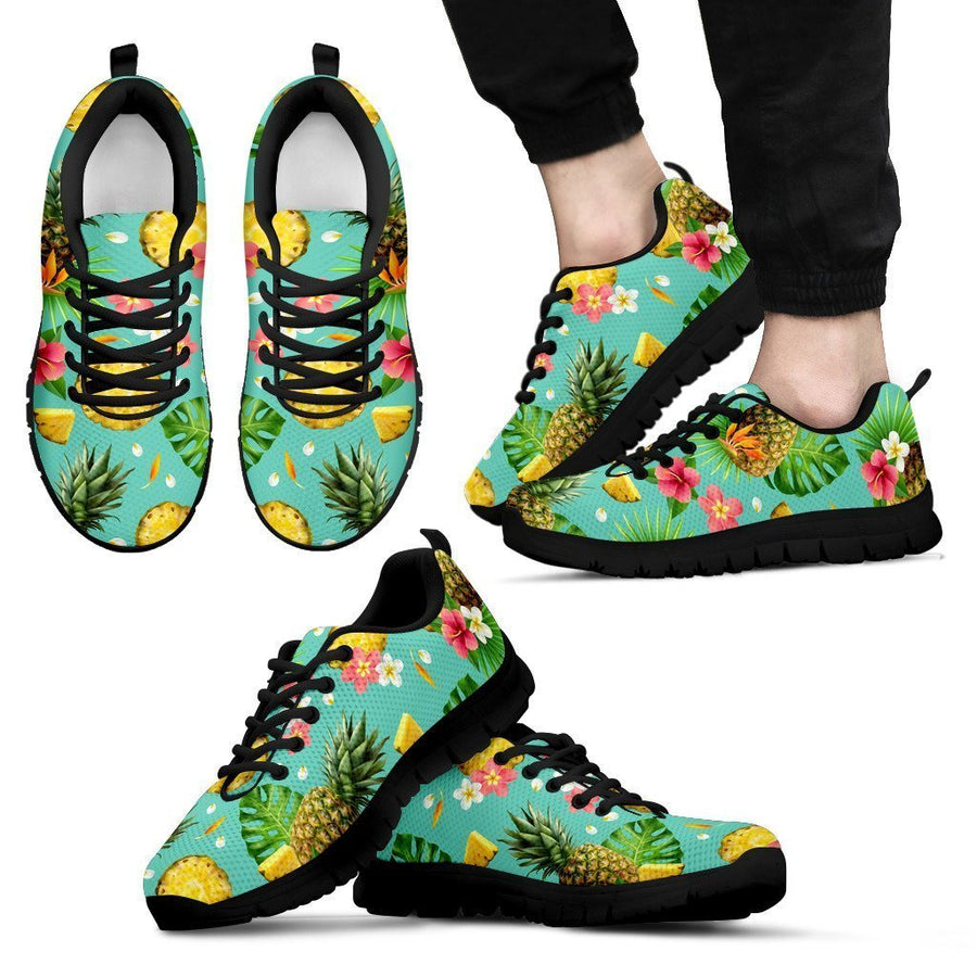 Blue Aloha Pineapple Pattern Print Men's Sneakers GearFrost