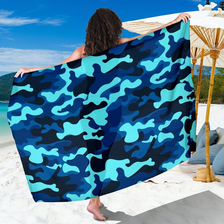 Blue And Black Camouflage Print Beach Sarong Wrap GearFrost