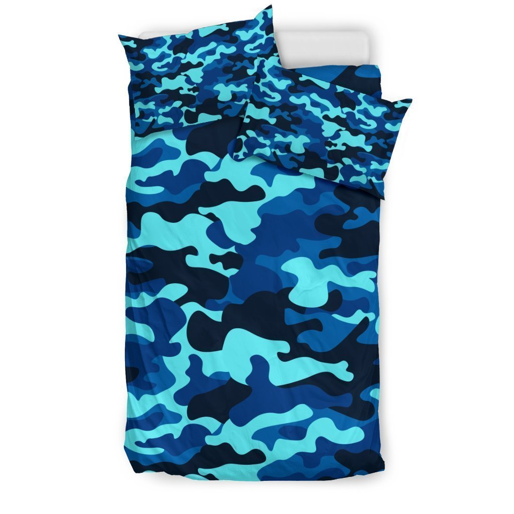 Blue And Black Camouflage Print Duvet Cover Bedding Set GearFrost