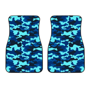Blue And Black Camouflage Print Front Car Floor Mats GearFrost