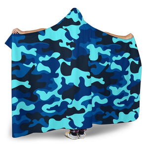 Blue And Black Camouflage Print Hooded Blanket GearFrost