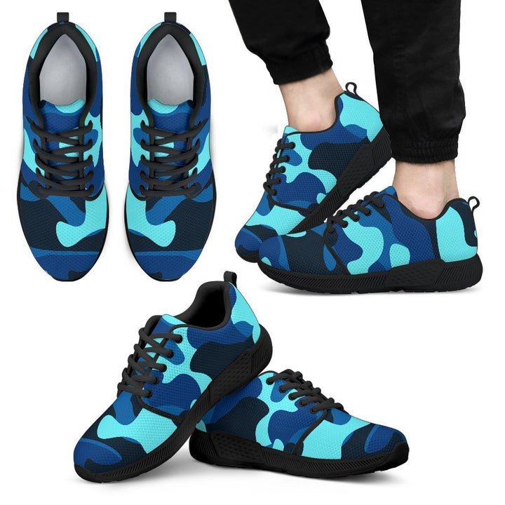 Blue And Black Camouflage Print Men's Athletic Shoes GearFrost