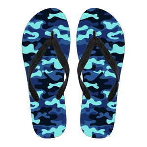 Blue And Black Camouflage Print Men's Flip Flops GearFrost