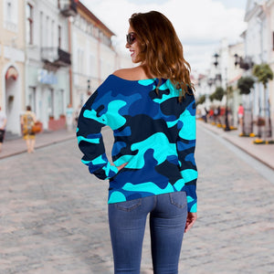 Blue And Black Camouflage Print Off Shoulder Sweatshirt GearFrost