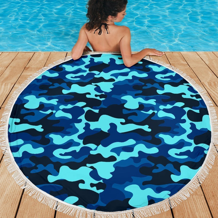 Blue And Black Camouflage Print Round Beach Blanket GearFrost