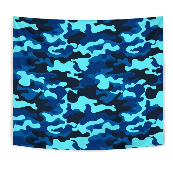 Blue And Black Camouflage Print Wall Tapestry GearFrost